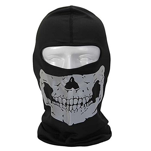 - Cideros Balaclava Mask Ghost Skull Neck Face Thermal Under Helmet Protection Wind Stopper Quick Dry Light Reflection Warmer Mask Outdoor Sport Ski Cycle Motorcycle Bike CS shooting,Silver