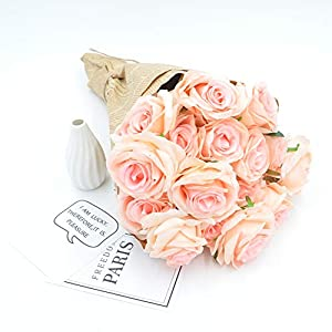 Homyu Artificial Rose Flowers 9 Heads Arrangement Bouquet PU Touch Glorious Moral for Home Office Parties and Wedding 102