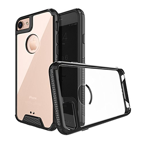 Razor Cell Phone Battery - iPhone 8 Case, RILLO Razor Thin Fit Black Slim Case, Crystal Clear Back iPhone 7 Case iPhone 8 Case with Air Cushion and Drop Tested Shockproof with extreme protection, Non Slip Grip Design