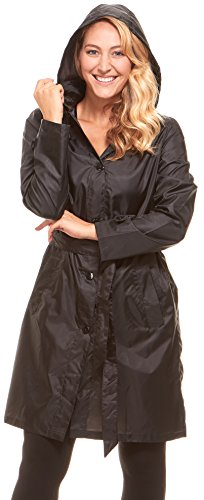 Floopi Womens Raincoat Lightweight Hooded Packable Waterproof Rain Jacket (L, Black-RC101)