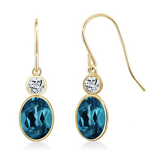 Gem Stone King 14K Yellow Gold London Blue Topaz White Topaz Earrings, 2.08 Ctw Oval ()