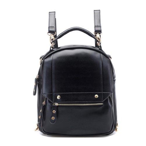 Tinksky® Vintage Retro Mori Girl Backpack Shoulders Bag Fashion College Leather Schoolbag (Black)