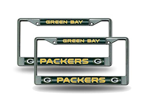 Rico Green Bay Packers Chrome Metal (2) Bling License Plate Frame Set