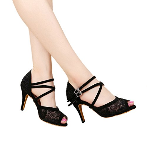 With Black Salsa Sandals Practice Peep Toe Shoes Heel Misu Latin Ballroom Tango Dance 3 Womens 3 xZtqPp1Xwf