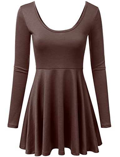 NINEXIS Women's Round Neck Long Sleeve A-Line Flared Dress Brown M -