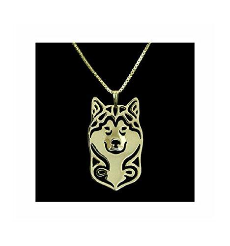(MMBD Alaskan Malamute Husky Necklace Pendant Rose)