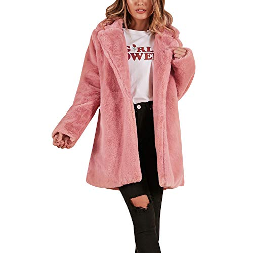 JOFOW Womens Solid Faux Fur Coat,New Warm Pocket Cardigans Fuzzy Basic Parka Winter Padded Discount Lapel Fleece Jackets (XL,Pink) by JOFOW