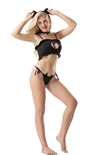 Vorifun Women Sexy Cosplay Lingerie Japanese Cute Anime Cat Kitten Keyhole Costume Outfit (Black Set) -