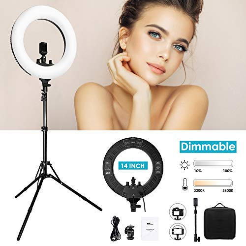 "Amzdeal 14"" Ring Light,Dimmable Camera Photo Video LED Lighting Kit,Adjustable Color Temperature 3200K-5600K,360 LED Beads,CRI 90+,75"" Adjustable Stand,Phone Adapter,for Portrait,YouTube,Makeup etc"