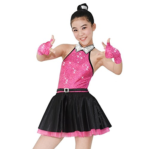[MiDee Jazz Dress Dance Costume High Neck with Sparkle Austria Rhinestones Collar (LC, HotPink)] (Illusion Dance Costumes)