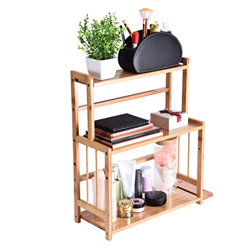 Eoeth 3-Layer Makeup Rack Kitchen Racks Bamboo Storage Racks Three-in-One Multi-Function Models Bookshelf Wood Spice Rack Standing Kitchen Countertop Organizer US Stock(Shipped by US) Free Post