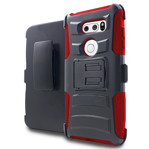 For LG V35 Thinq/LG V30, Phonelicious Xtreme Armor [Heavy Duty] Hybrid Dual Layer Kickstand Belt [Holster Clip] Combo Tuff Free Screen Protector & Stylus (RED XC)