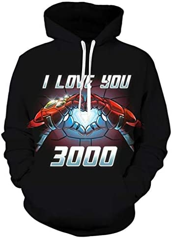 Unisex 3D I Love You 3000 Printed Hoodie Anime Cosplay Hooded Sweatshirt Casual Jacket Pullover T-Shirt