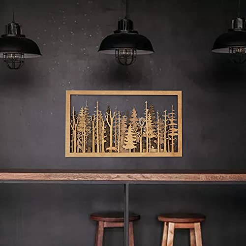 bestheart Wall Decorations,Forest Silhouette Wall Decoration,Wall Art for Living Room,Wood Wall Art Modern Home Decor Living Room Wall Decor (A-1PC)