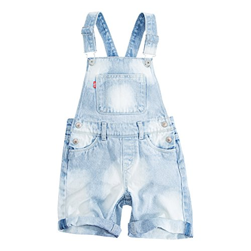 Levi's Girls' Toddler Denim Shortalls, Weathered Indigo, 4T ()