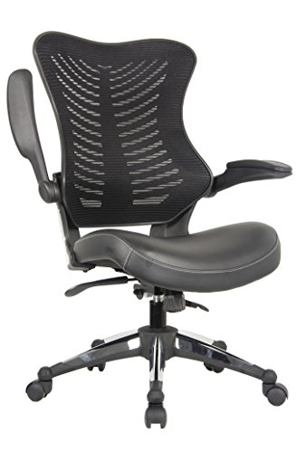 OFFICE FACTOR Executive Ergonomic Office Chair Back Mesh Bonded Leather Seat Flip up Armrest Molded Seat with a 55kg Foam Density Double Handle Mechanism You Can Lock The Back in Any Position (Black)