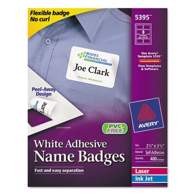 (Flexible Self-Adhesive Laser/Inkjet Name Badge Labels, 2-1/3 x 3-3/8, WE,)