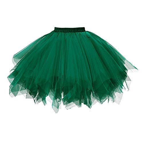 (MizHome Womens Blackish Green Tutu Skirt Layered Tulle Skirt Adult Halloween)