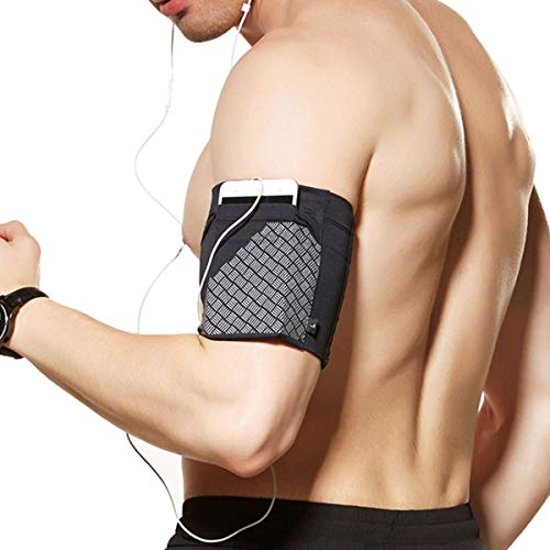 Ailzos Sports Running Armband, Cell Phone Armband Exercise Arm Holder for Running, Fitness and Gym Workouts Phone Armband Sleeve for iPhone X/8/7 Plus/7/6,Samsung Galaxy S9/S8/S7,Sony,LG HTC, Black,L