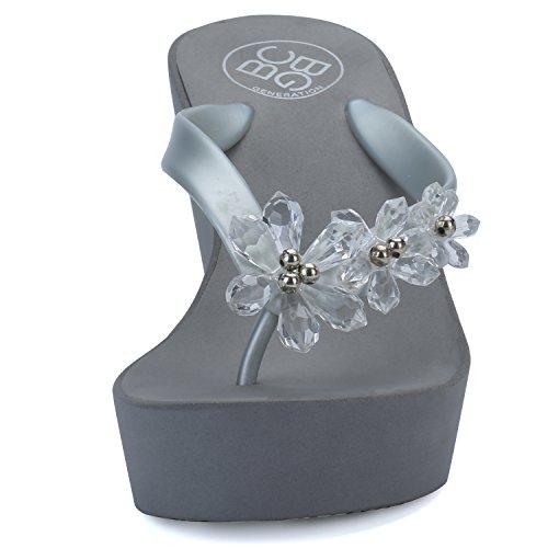 76886153259918 IDIFU Women s Sweet Flowers Wedge Platform Thong Sandals Flip Flops with  Heels