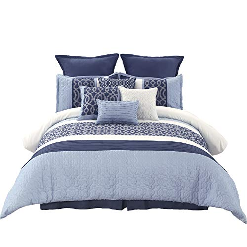 (Wonder-Home 10 Pc Embroidered Quilted Comforter Set Oversized Queen(92
