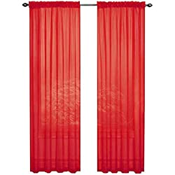 GoodGram 2 Pack: Ultra Luxurious High Thread Rod Pocket Sheer Voile Window Curtains Assorted Colors (Red)
