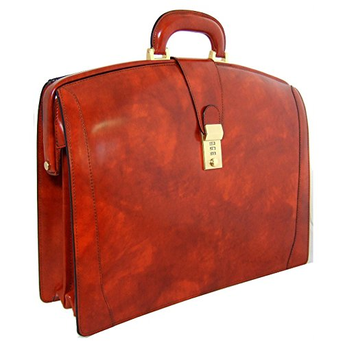 Pratesi Bruno Italian Leather Briefcase. Business Bag (brown)