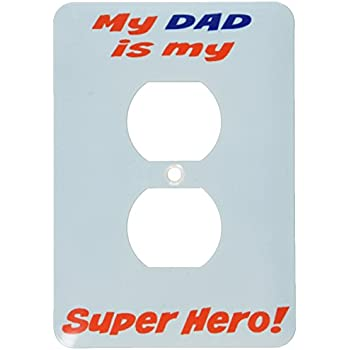 3dRose lsp/_214403/_6 My dad is my superhero red and blue lettering 2 Plug Outlet Cover Multicolor
