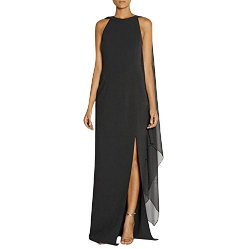 ALIKEEY Las Mujeres Vestido De Gasa Largo Abrigo Split Costura Vestido De Noche Larga Mujer Costura Vestido De Fiesta Vestido De Vaina Split Negro