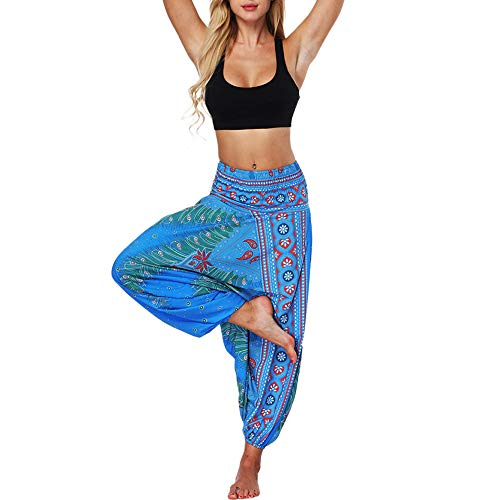 iLUGU Womens Casual Summer Loose Work Out Pants Yoga Trousers Baggy High Waist Workout Leggings Boho Jumpsuit Sports Harem Yoga Blue