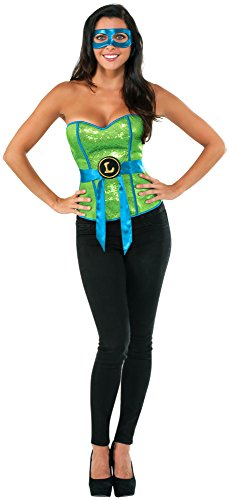 [Rubie's Costume Co Women's Teenage Mutant Ninja Turtles Classic Sequined Leonardo Corset, Multi, Medium] (Teen Teenage Mutant Ninja Turtle Costumes)