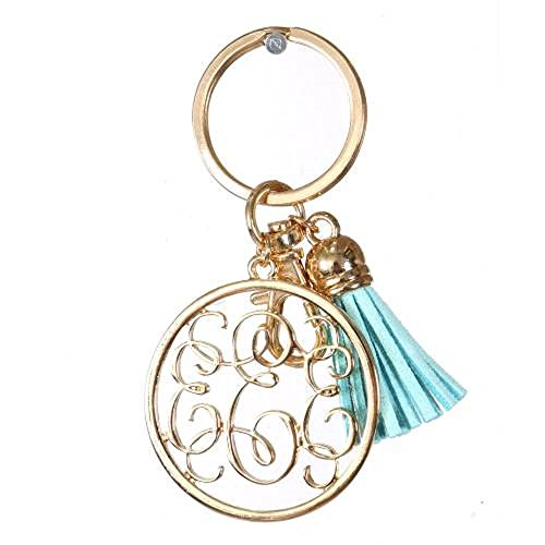 Initial Jewelry Personalized Monogrammed Alphabet Initial Letter Keychain, Key Ring, Bag Charm w/ Tassel (E-Gold)