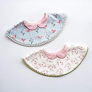 ✿ Round 360 Degree Rotating Flower Bib Children Cotton Saliva Towel Baby Bibs Fake Collar Kids Products