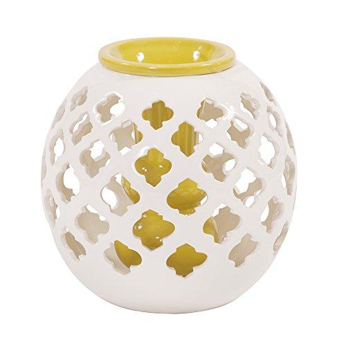 Howard Elliott 49003 Ceramic White Lattice Vase, Round ()