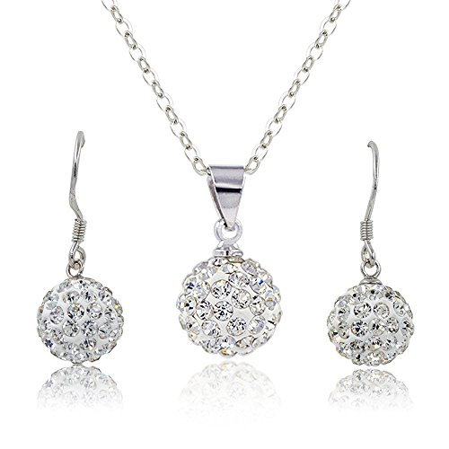 Habeats 10MM Silver Fireball Pendant Necklace and Dangle Drop Earrings (Fireball Pendant)