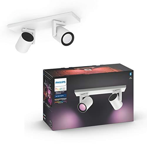 Philips Hue Argenta Opbouwspot 2-Lichts – Duurzame LED Verlichting – Wit en Gekleurd Licht – Verbind met Bluetooth of…