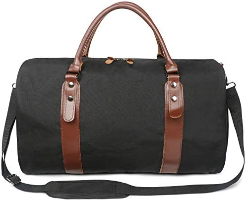 "Oflamn 21"" 900D Weekender Bags Leather Duffle Bag Overnight Travel Carry On Tote Bag with Luggage Sleeve (Black)"