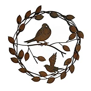 California Home and Garden CH894 Hanging Metal Rusty Birds Wreath with Leaves, Rustic Look Artwork, 16 Inch Radius, Brownish Red 28