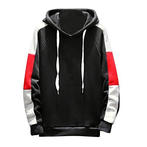 QBQCBB Men's Comfortable Personal Pullover Long Sleeved Hooded Top(Black,XXL)