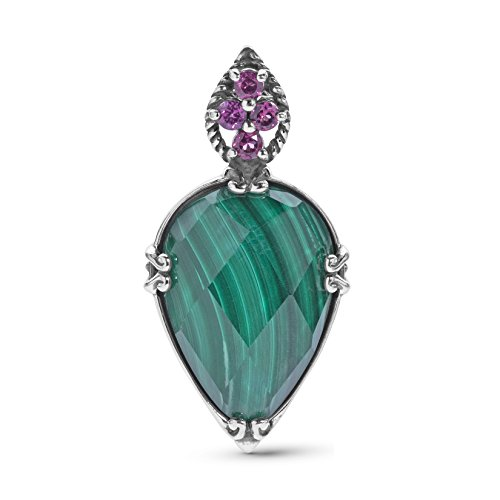 Carolyn Pollack Sterling Silver Rhodolite Garnet and Green Malachite Gemstone Turtle Pendant Enhancer