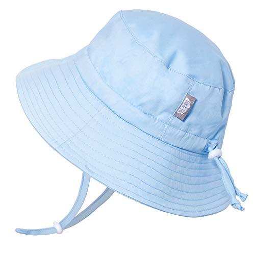JAN & JUL Children's Foldable Summer Sunhat 50 UPF, Drawstring Adjustable, Stay-on Chin Strap (L: 2-5Y, Blue) ()
