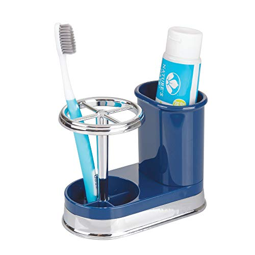 mDesign Decorative Bathroom Dental Storage Organizer Holder Stand for Electric Spin Toothbrushes and Toothpaste, Compact Design Holds 4 Standard Toothbrushes, for Countertops and Vanity - Navy/Chrome