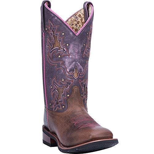 Laredo Women's Lola Purple Inlay Cowgirl Boot Square Toe Tan 10 -