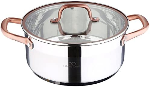 Bergner Infinity Chef Cacerola de inducción con Tapa de Vidrio, Acero Inoxidable, Plateado, 24 cm