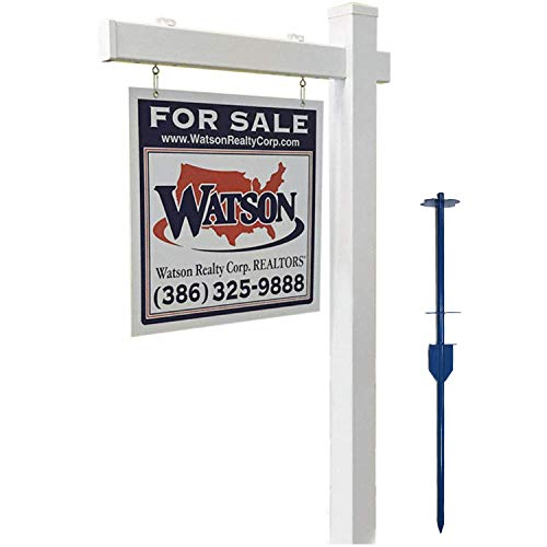 4EVER Vinyl PVC Real Estate Sign Post - White with Flat Cap