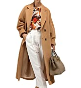 Himosyber Women's Vintage Wool Blend Plaid Lapel Pocketed Button Long Outerwear Coat