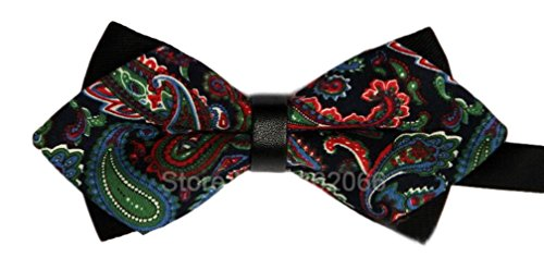 Gazebo Green Pre-Tied Cotton Paisley Floral Wedding Dressy Bow Tie (Green, Blue & Red Paisley) by Gazebo Green