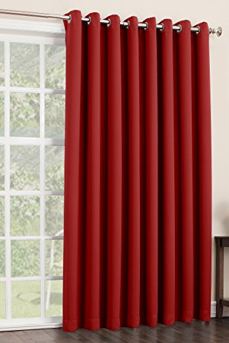 Sun Zero Easton Blackout Patio Door Curtain Panel, 100″ x 84″, Red