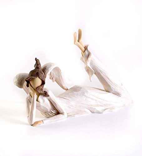 Angel Shelf Sitters - Wind & Weather Lying Down Angel Figurine, 11 L x 5 W x 7.5 H, White