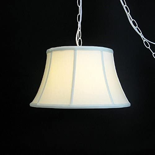Upgradelights Eggshell Silk 17 Hanging Lamp Swag Portable Plug in Swag Lamp